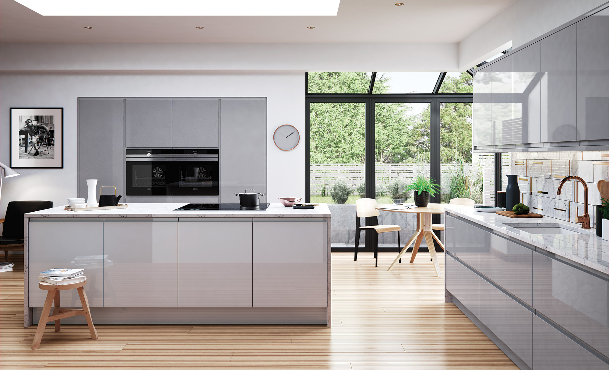 Strada Gloss Light Grey Dust Grey Quayside Kitchens - Light grey kitchen doors
