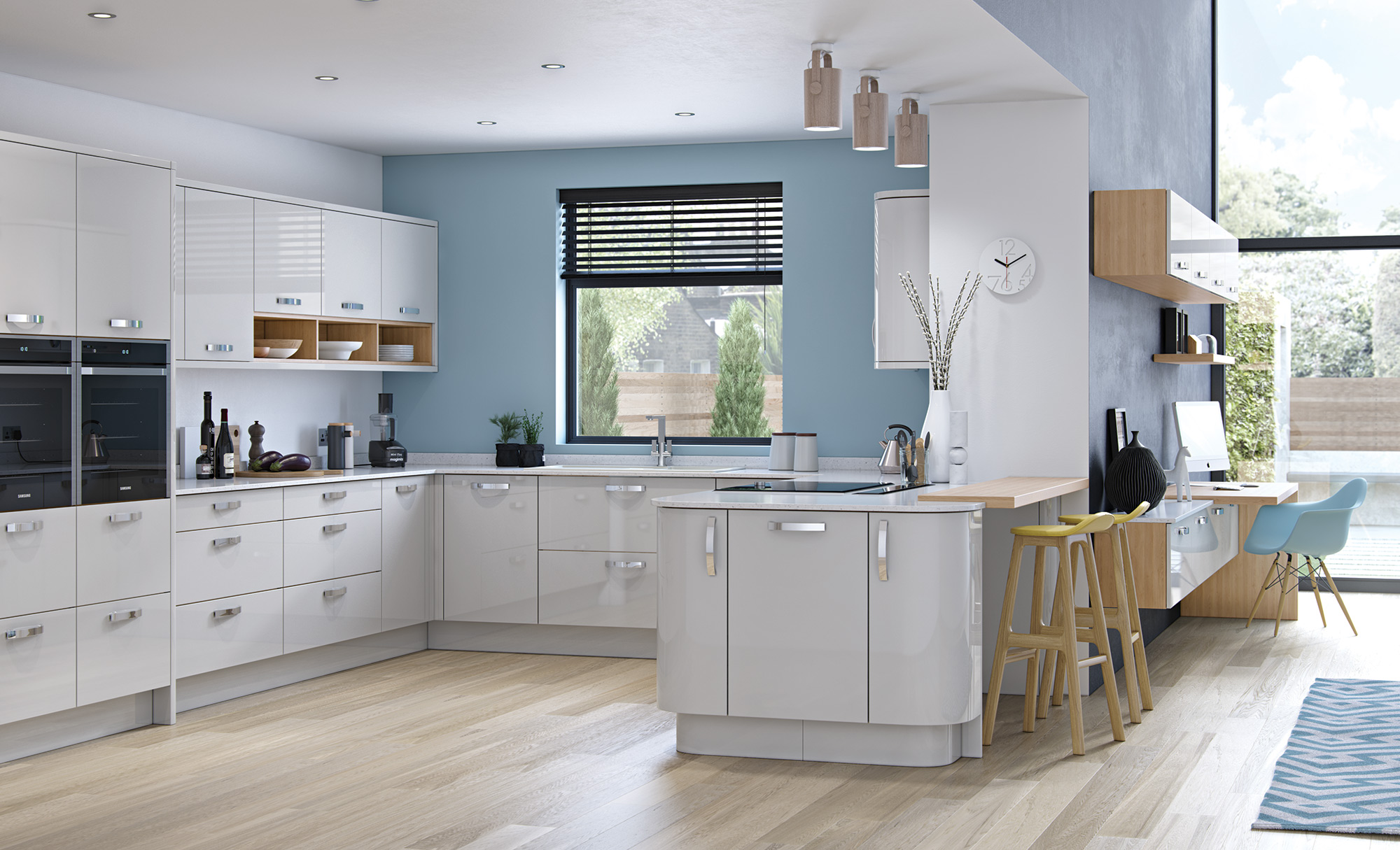 Zola Gloss Light Grey Quayside Kitchens